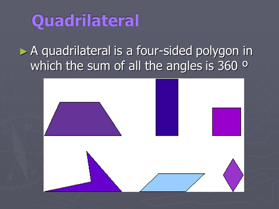Quadrilateral A quadrilateral is a four-sided polygon in which the sum of all the angles is 360 º.