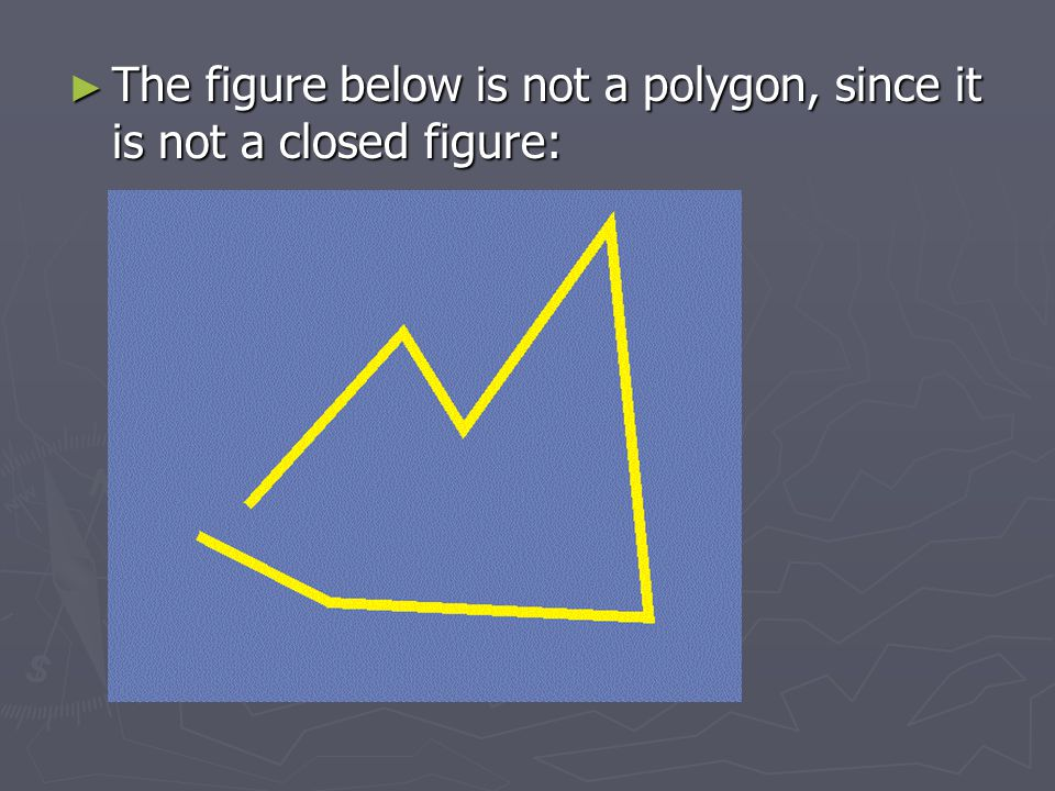 The figure below is not a polygon, since it is not a closed figure:
