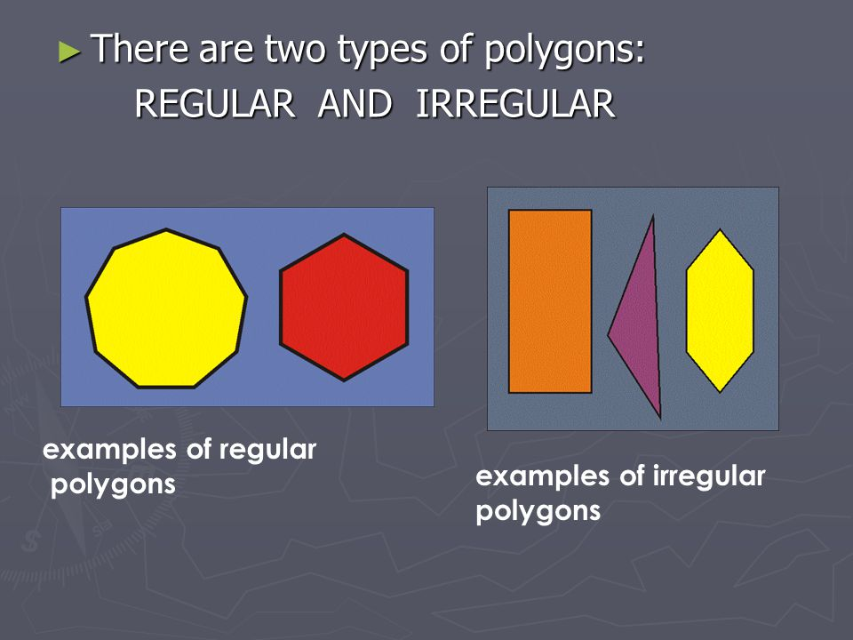 There are two types of polygons: REGULAR AND IRREGULAR
