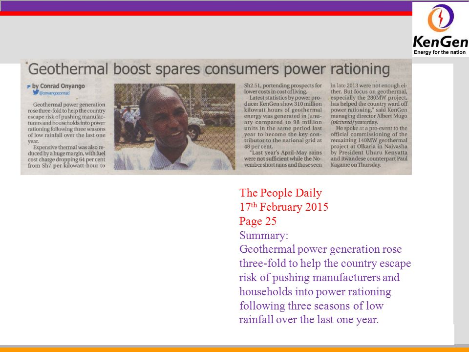 The People Daily 17th February 2015. Page 25. Summary:
