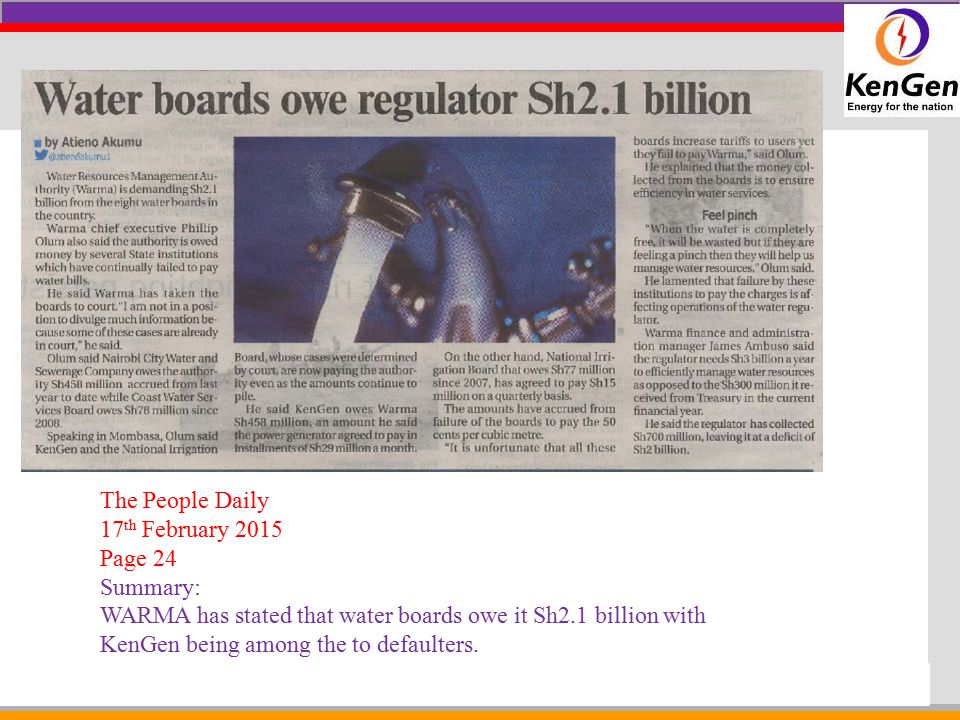 The People Daily 17th February 2015. Page 24. Summary: