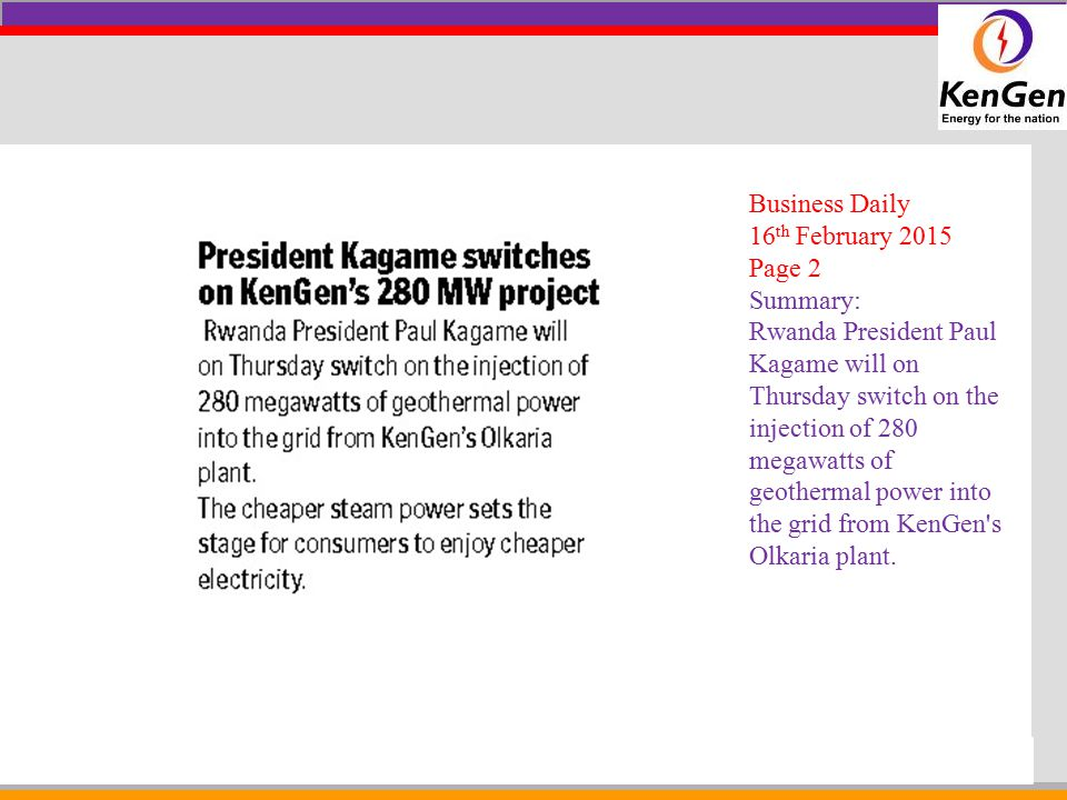 Business Daily 16th February 2015. Page 2. Summary: