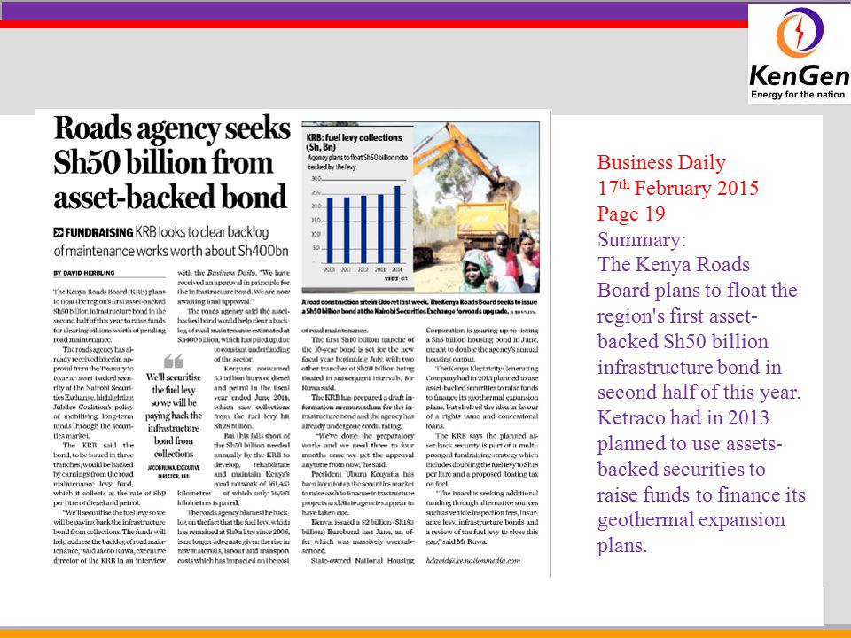 Business Daily 17th February 2015. Page 19. Summary: