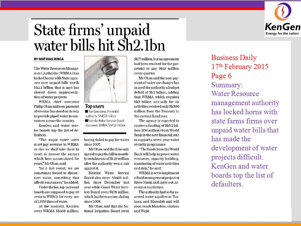 Business Daily 17th February 2015. Page 6. Summary: