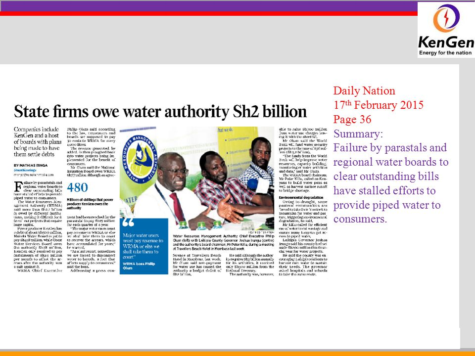 Daily Nation 17th February 2015. Page 36. Summary:
