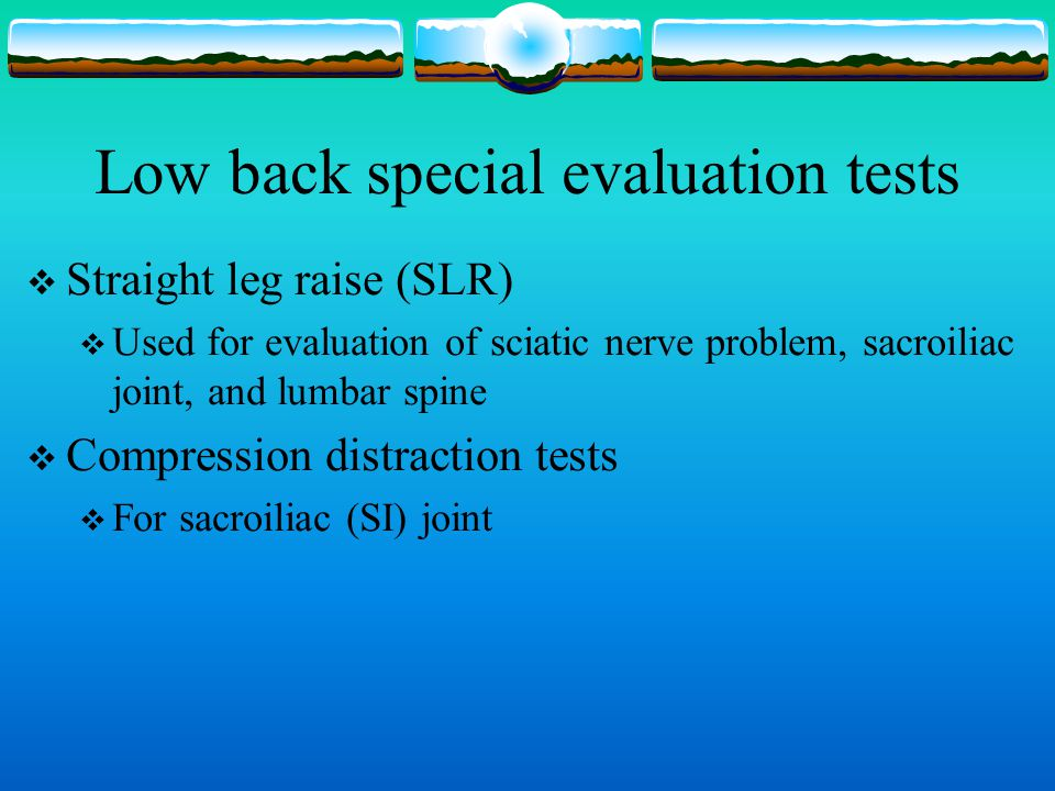 Low back special evaluation tests