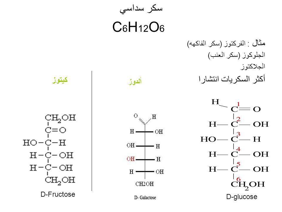 سكر سداسي C6H12O6 مثال : الفركتوز (سكر الفاكهه) أكثر السكريات انتشارا