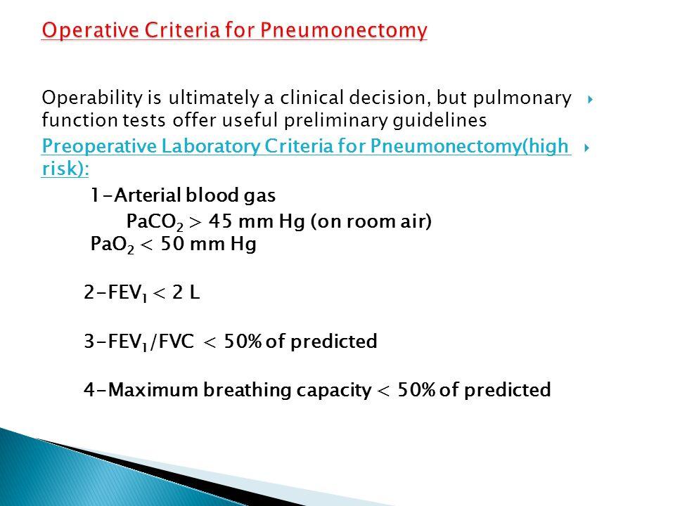Operative Criteria for Pneumonectomy