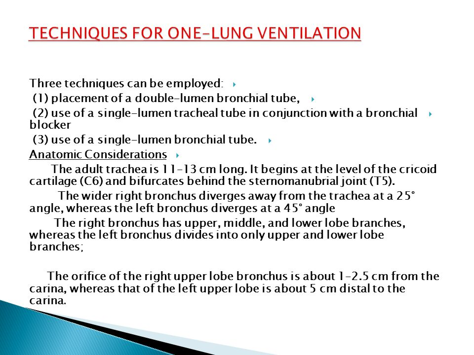 Techniques for One-Lung Ventilation