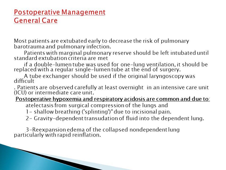 Postoperative Management General Care