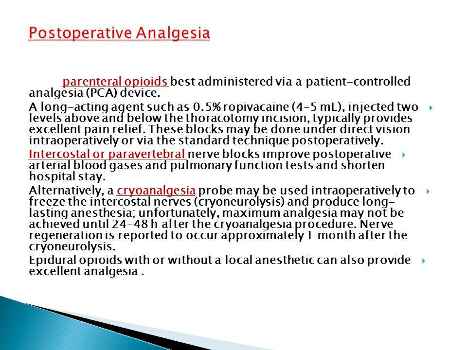 Postoperative Analgesia