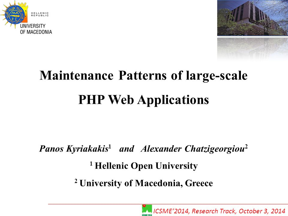 Maintenance Patterns of large-scale