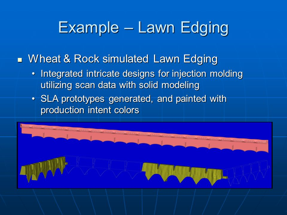 Example – Lawn Edging Wheat & Rock simulated Lawn Edging