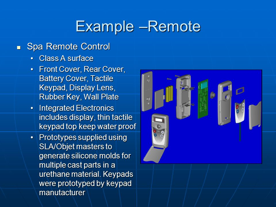 Example –Remote Spa Remote Control Class A surface