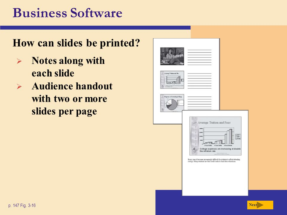 Business Software How can slides be printed