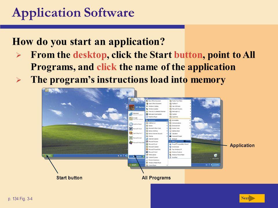Application Software How do you start an application