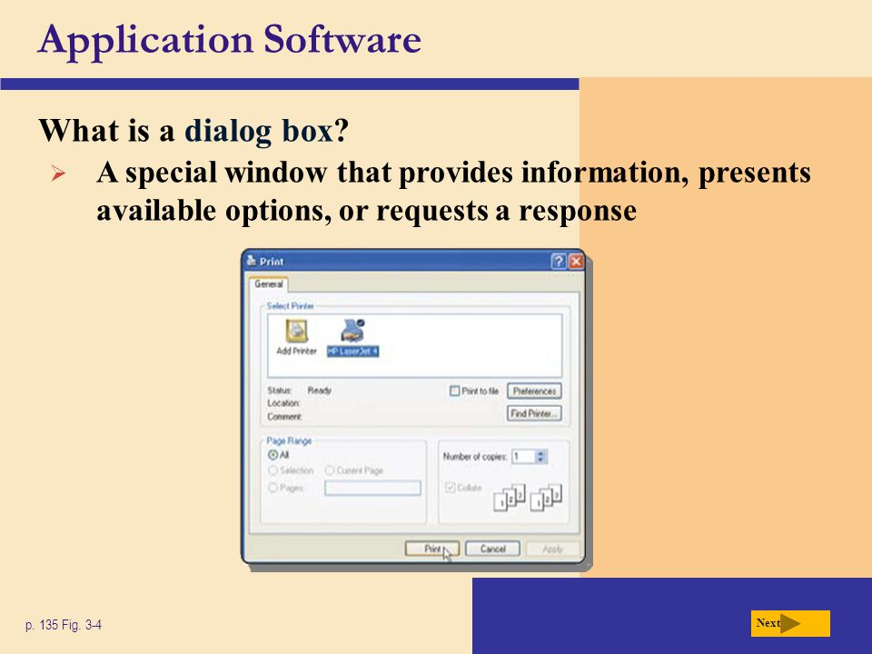 Application Software What is a dialog box