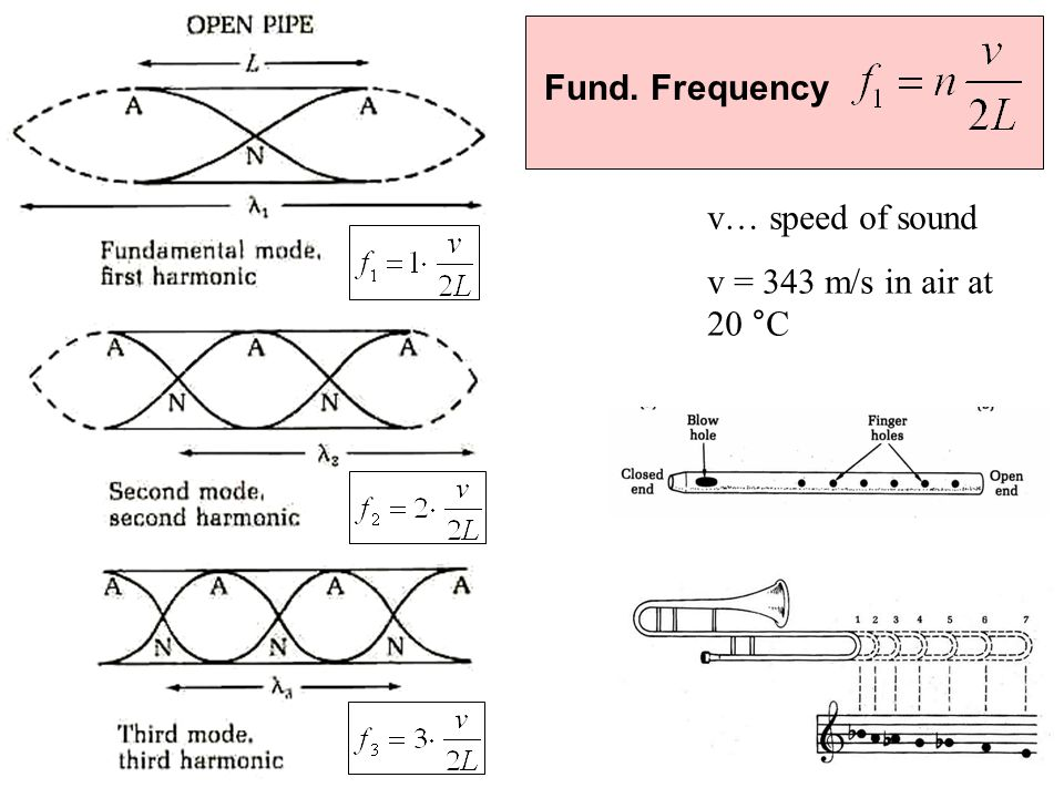 Fund. Frequency v… speed of sound v = 343 m/s in air at 20 °C