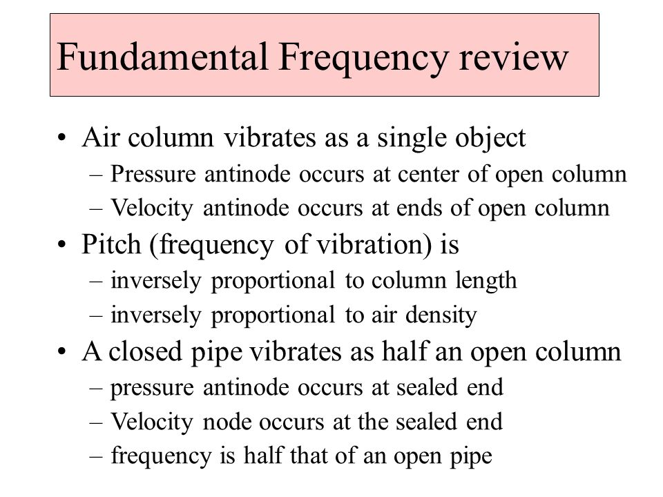 Fundamental Frequency review