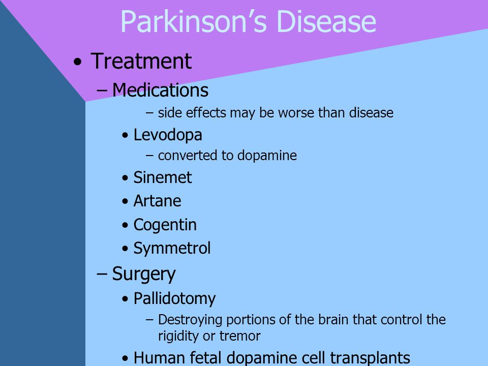Parkinson's Disease Treatment Medications Surgery Levodopa Sinemet