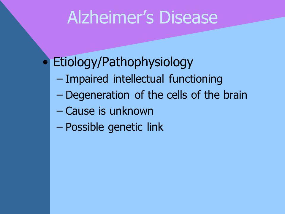 Alzheimer's Disease Etiology/Pathophysiology