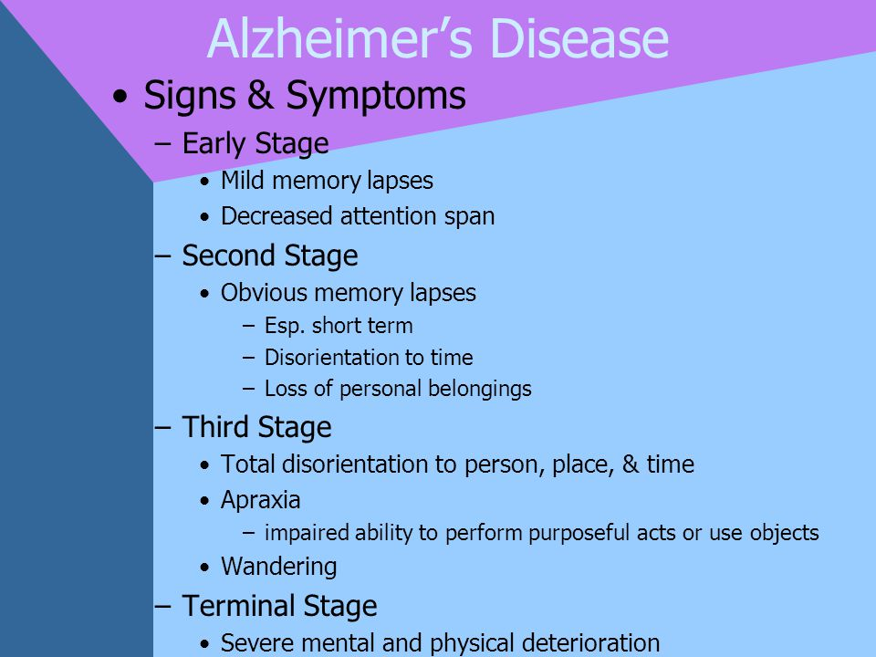 Alzheimer's Disease Signs & Symptoms Early Stage Second Stage