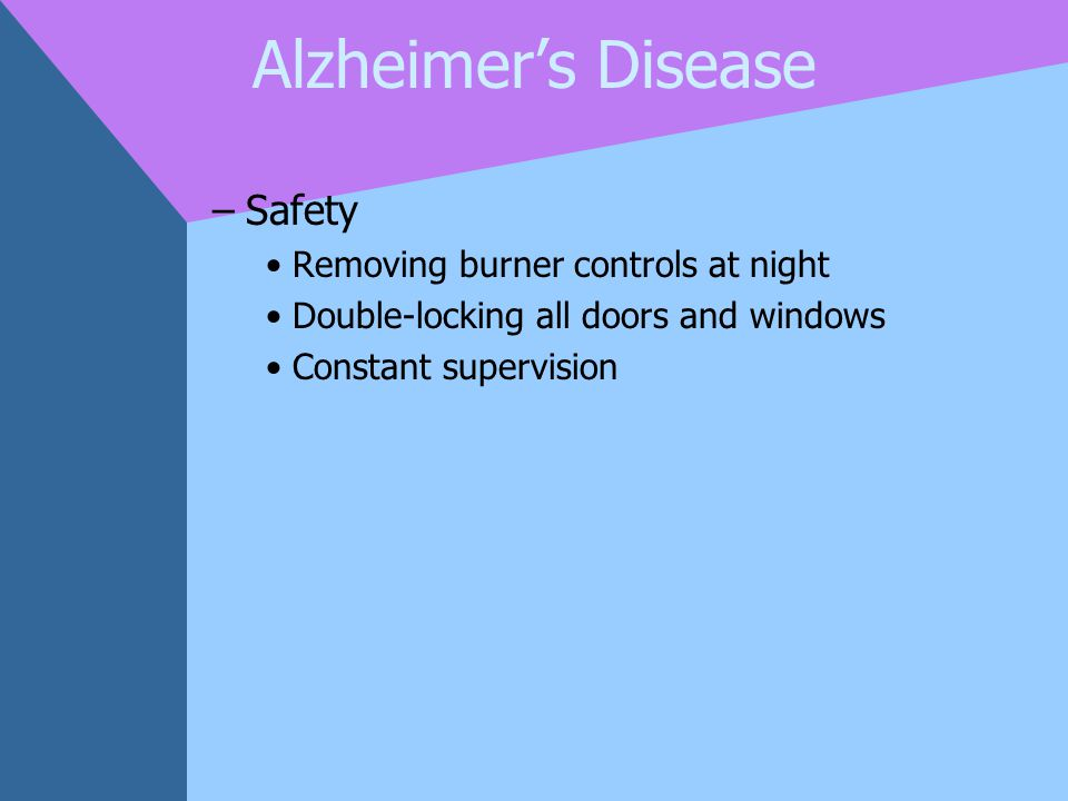 Alzheimer's Disease Safety Removing burner controls at night