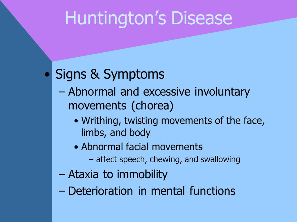 Huntington's Disease Signs & Symptoms