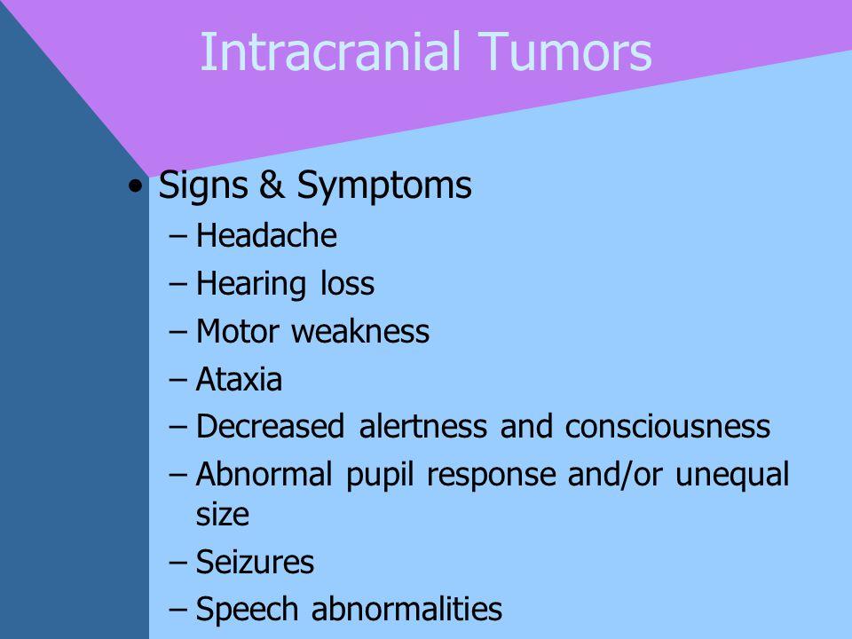 Intracranial Tumors Signs & Symptoms Headache Hearing loss