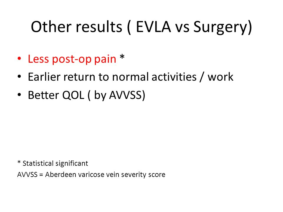 Other results ( EVLA vs Surgery)