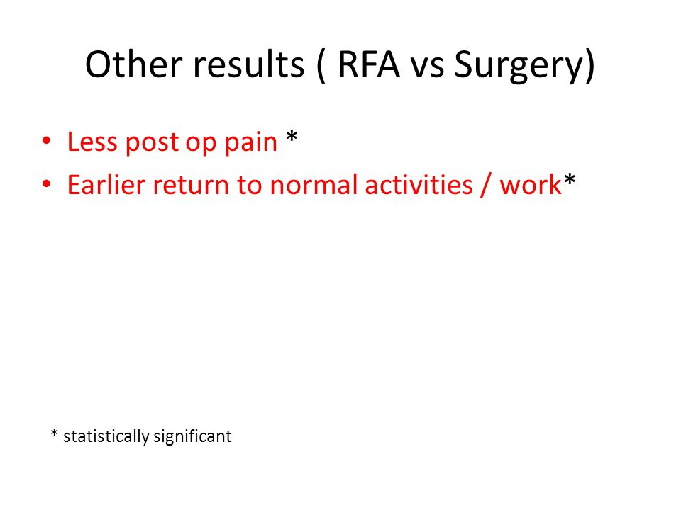 Other results ( RFA vs Surgery)