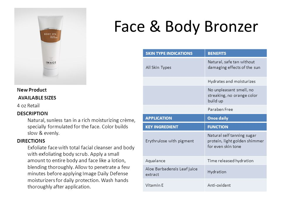 Face & Body Bronzer New Product AVAILABLE SIZES 4 oz Retail
