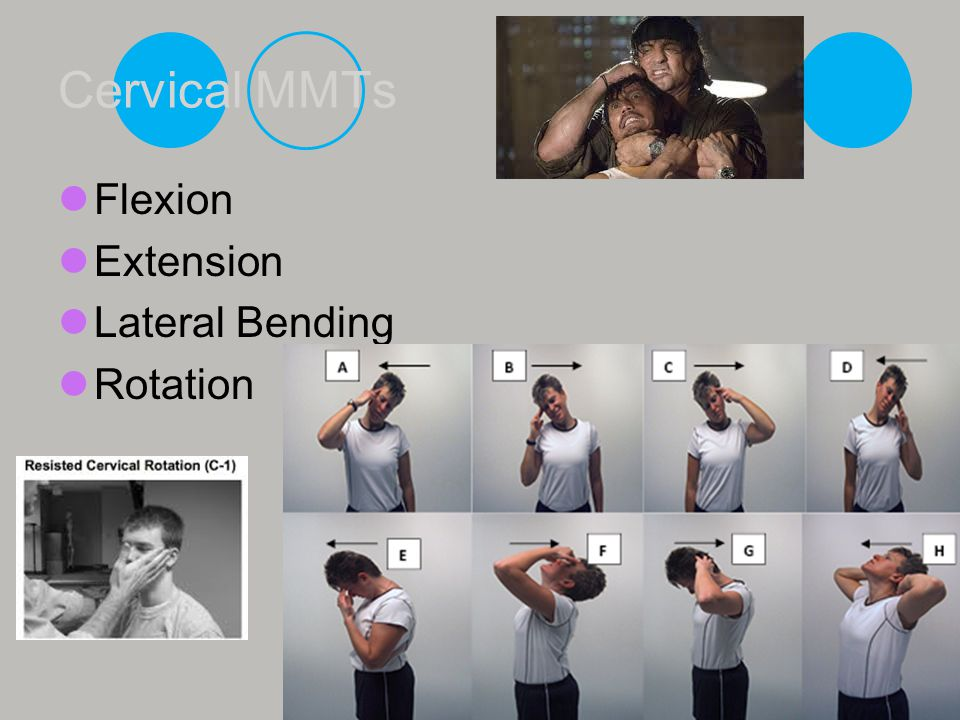 Cervical MMTs Flexion Extension Lateral Bending Rotation