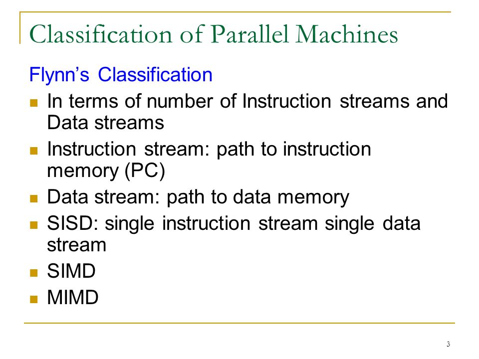 Classification of Parallel Machines