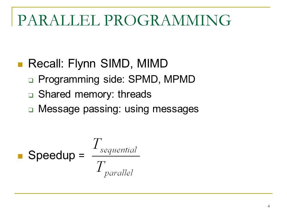 PARALLEL PROGRAMMING Recall: Flynn SIMD, MIMD Speedup =
