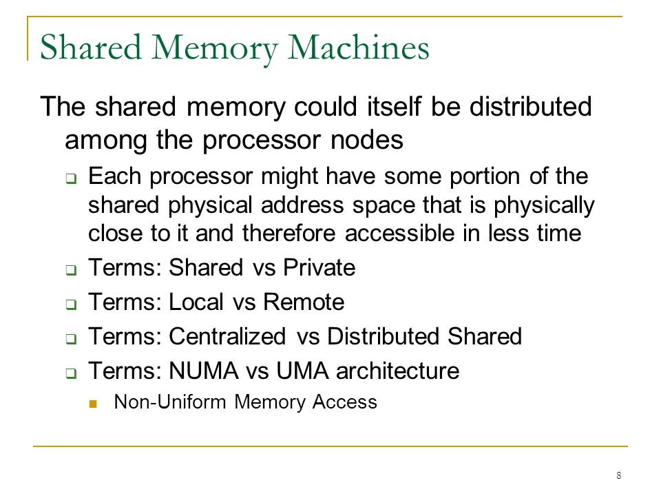 Shared Memory Machines