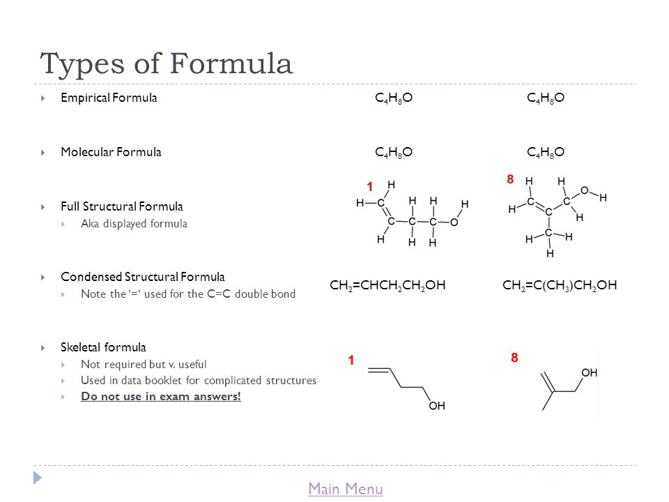 Types of Formula Empirical Formula C4H8O C4H8O
