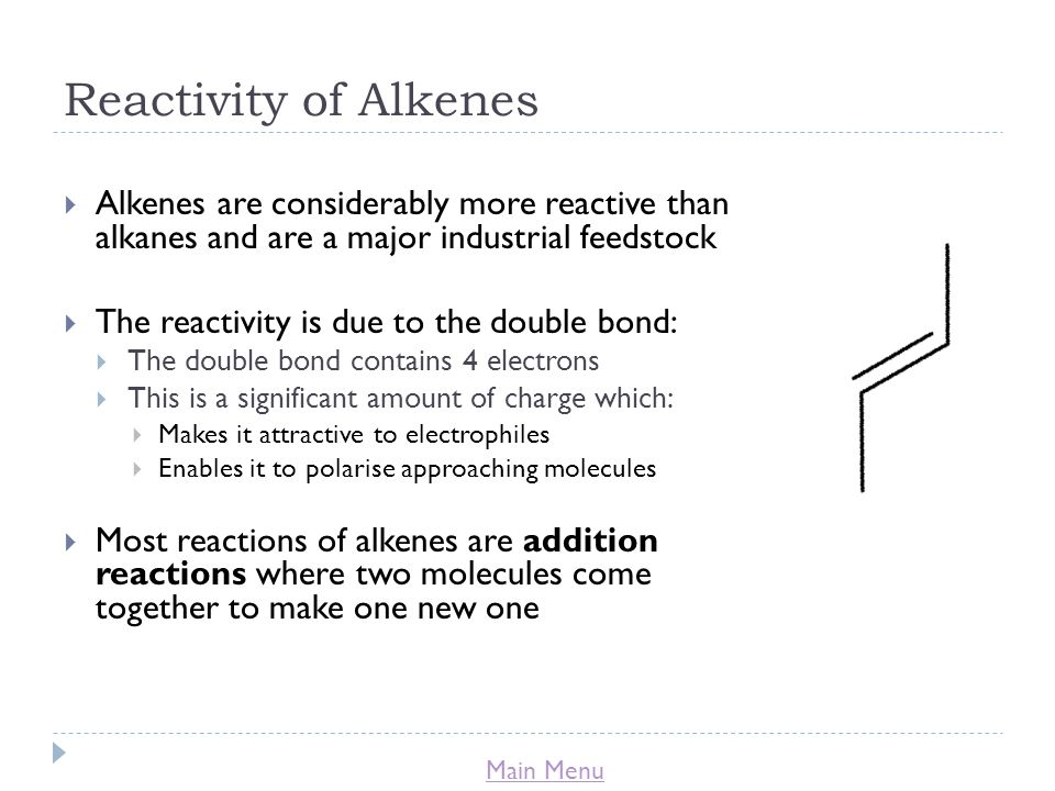 Reactivity of Alkenes Alkenes are considerably more reactive than alkanes and are a major industrial feedstock.