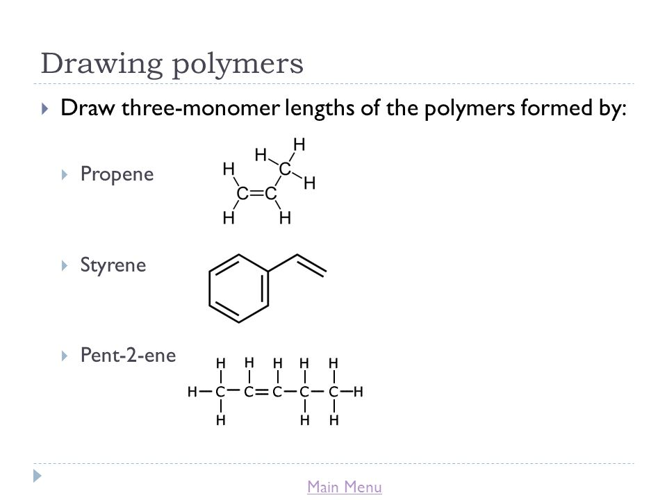 Drawing polymers Draw three-monomer lengths of the polymers formed by: