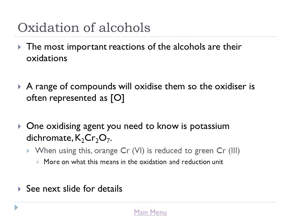 Oxidation of alcohols The most important reactions of the alcohols are their oxidations.
