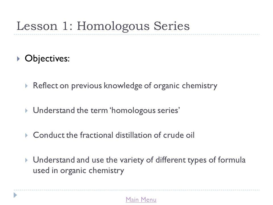 Lesson 1: Homologous Series