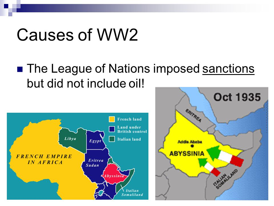 Causes of WW2 The League of Nations imposed sanctions but did not include oil!