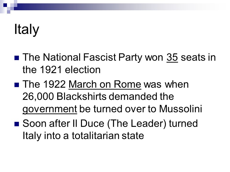 Italy The National Fascist Party won 35 seats in the 1921 election