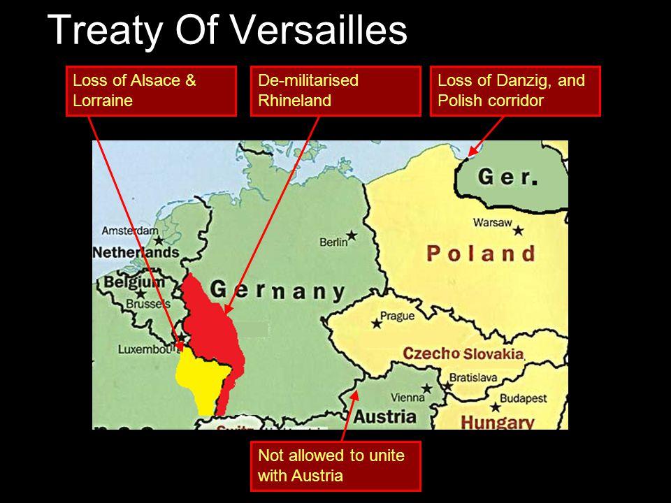 Treaty Of Versailles Loss of Alsace & Lorraine