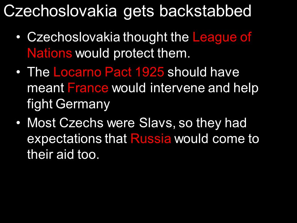 Czechoslovakia gets backstabbed