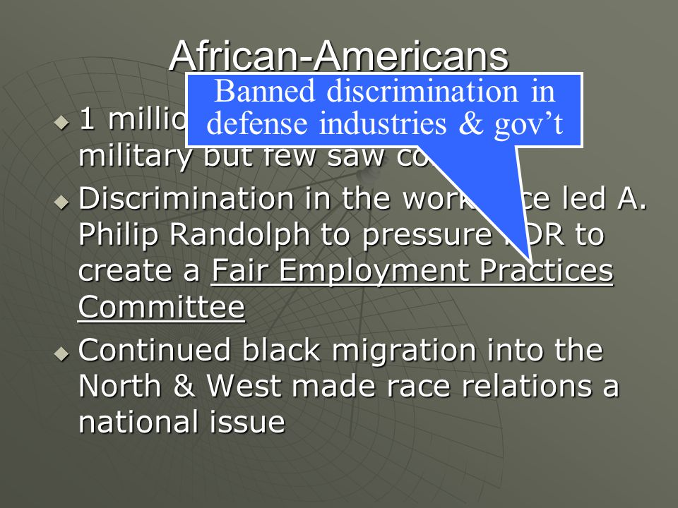 Banned discrimination in defense industries & gov't