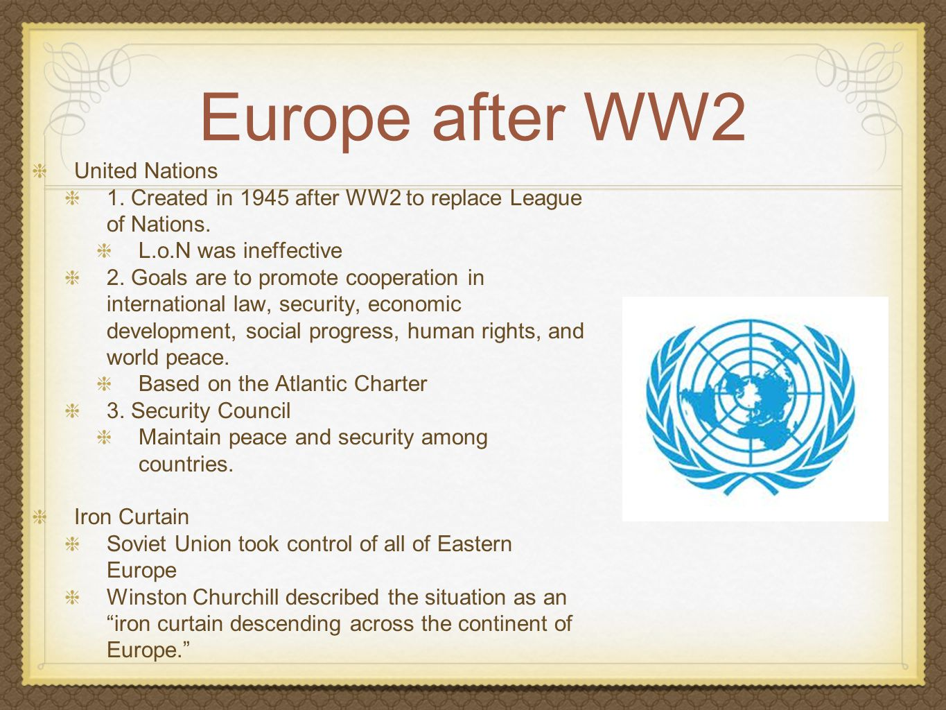 Europe after WW2 United Nations