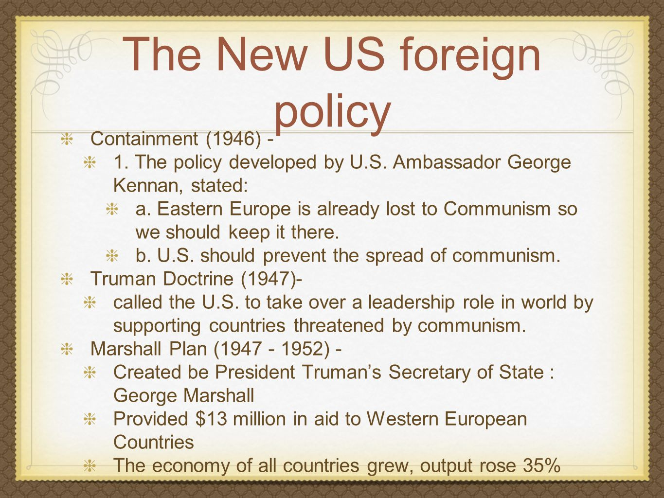 The New US foreign policy