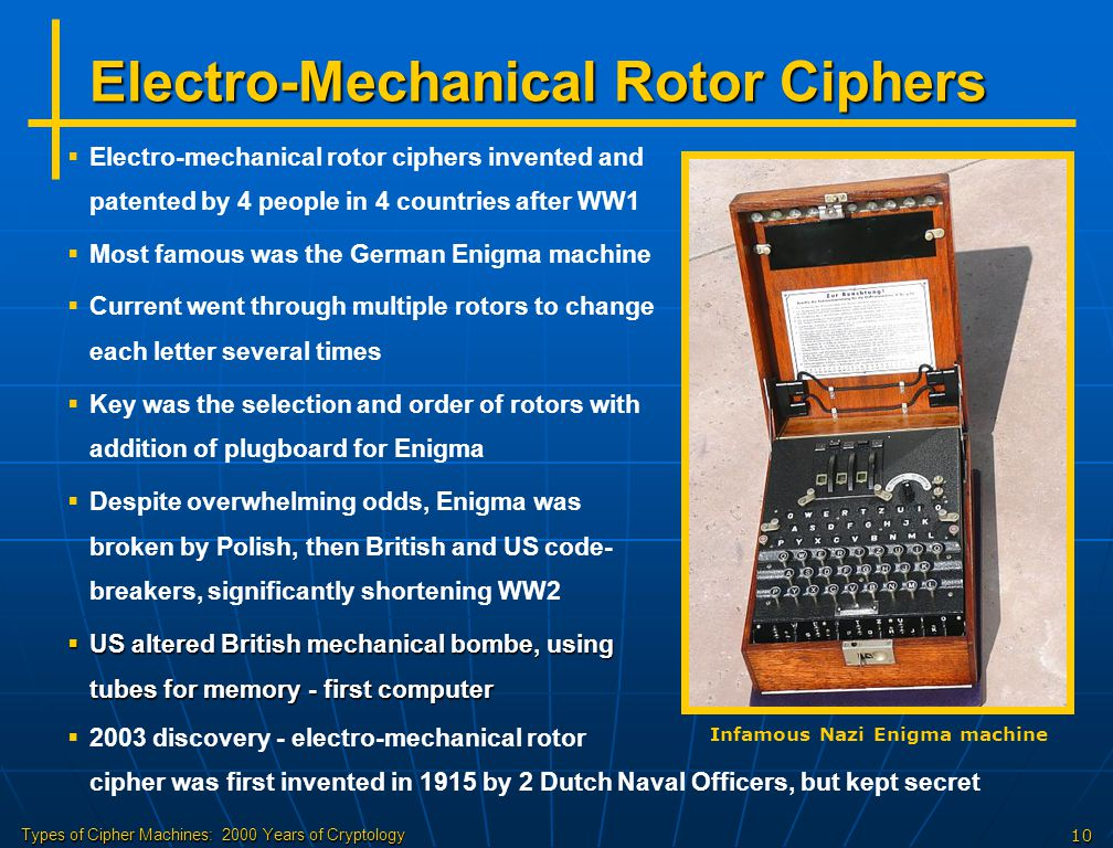 Electro-Mechanical Rotor Ciphers