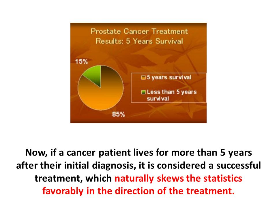 Now, if a cancer patient lives for more than 5 years after their initial diagnosis, it is considered a successful treatment, which naturally skews the statistics favorably in the direction of the treatment.